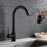 KCASA Kitchen Pull Out Cool Black Painted Finish Elastyczne baterie ciepłej i zimnej baterii Deck Mount Swivel Faucet