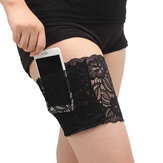 Women Lace Non Slip Sporting Phone Card Thigh Pocket Casual Boot Cuffs Leg Pocket