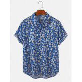 Cotton Mens Casual Floral Print Chest Pocket Turn Down Collar Holiday Beach Short Sleeve Shirts