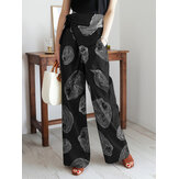 Women Cotton Floral Print Breathable Bandage Wide Leg Pants With Pocket