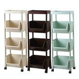 رف تخزين مطبخ متحرك بثلاث طبقات مع عجلات ، سلة فواكه وخضروات ، منظم مطبخ متعدد الوظائف ، رف تخزين
