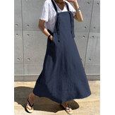 カジュアルな女性のゆるいポケット無地のノースリーブドレス