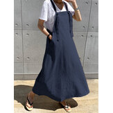 Casual Women Longgar Kantong Tanpa Lengan Gaun Warna Solid