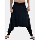 Calça masculina baixa virilha solta calça larga