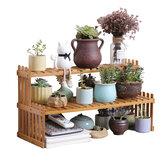 Mehrschichtiges hölzernes Blumenregal Office Desktop Einfacher Topfständer Balkon Regal Schreibtisch Organizer Lagerregal