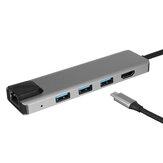 6 في 1 USB-C Hub محول مع 3 * USB 3.0 / Type-C PD / 4K عالي الوضوح عرض/RJ45 لأجهزة ذكي الهواتف المحمولة MacBook Pro 2020
