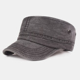 Men Cotton Solid Color Washable Military Hat Outdoor Sunshade Hiking Hat Flat Hat