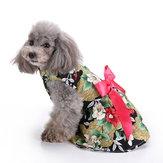 Çiçek Köpek Koşum Elbise Evcil Hayvan Giyim D-ring Yelek Gömlek Sundress Siyah