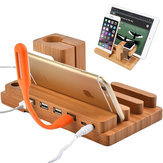 Multifuncional Bamboo USB Charging Dock Phone Tablet Holder Mount para Apple Watch