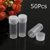 50PCS 5ml Plastic Sample Small Bottle Vial Storage Container Test Tube for Lab
