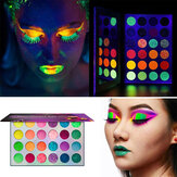 24 Colors Waterproof Glow Eyeshadow Palette Eyeshadow Palette Neon Glow in The Dark Luminous Eyeshadow for Festivals/Party/Halloween/Christmas