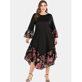 Tallas grandes estampado floral Patchwork Holiday Vestido
