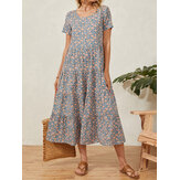 Casual Floral Print Patchwork O-neck Short Sleeve Pleated Holiday Maxi Dress For Women