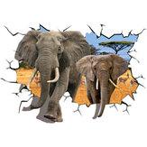 Yaratıcı3DAfrikaHayvanFillerPVC Kırık Duvar Sticker DIY Çıkarılabilir Dekor Su Geçirmez Duvar Çıkartmaları Ev Ev Duvar Sticker Posteri Duvar Dekorasyon Yatak Odası Oturma Odası için
