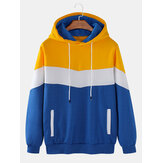 Homens Color Block Patchwork Flocking Casual Solto Com Cordão Hoodies Com Bolso