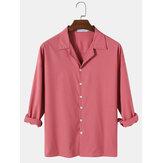 Camisas masculinas de algodão cor sólida para acampamento de manga longa simples