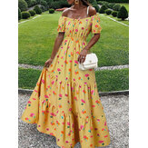 Women Elastic Square Collar Floral Print Holiday Casual Floor Maxi Dress With Belt