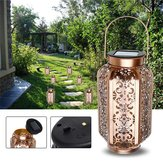 Solar Powered vendimia Metal LED Lantern Light al aire libre Garden Landscape Yard Lámpara
