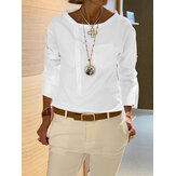 Women Stand Collar Long Sleeve Oblique Placket Casual Blouse