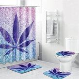 3D Paars Esdoornblad Douchegordijnen Badkamer Gordijn Polyester Fibre Waterdicht Bad Gordijn voor Badkamer Decor