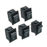 5st svart knappknapp Mini Switch 6A-10A 110V 250V KCD1-101 2Pin Snap-in På / Av Rocker Switch 21MMx15MM