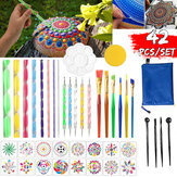 42PCS/Set Mandala Dotting Tools Rock Painting Kit Dot Art Rock Pen Paint Stencil