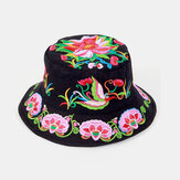 Embroidery Ethnic Style Pattern Round Shape Visor Sun Hat Bucket Hat For Female