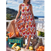 Floral Print Pleated O-Neck Sleeveless A-Line Loose Holiday Casual Midi Women Dress