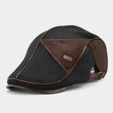 Banggood Design Men Knit Leather Patchwork Color Casual Personality Forward Hat Kapelusz Beret