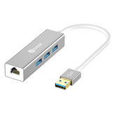 Biaze ZH17 Aluminum أشابة USB 3.0 to 3-Port USB 3.0 + 1000Mbps جيجابت RJ45 إيثرنت Hub