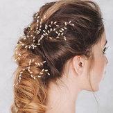 Gancho de cabelo feito à mão chapeado ouro da noiva do Hairclip da pérola da liga para mulheres
