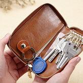 Men Genuine Leather Retro Key Case Bag Multi Key Ring Zipper Keychain Wallet