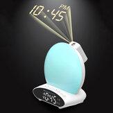 Proiezione del tempo HD LED Sveglia 7 colori FM Radio Aiuto per dormire Modalità snooze Orologio sveglia Dispositivo U Disco Musica Altoparlante