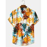 Tatil Tarzı Bitki Baskı Erkek Yaka Yaka Kısa Kollu Gömlek