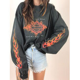 Women Letter Long Sleeve Print O-Neck Loose Daily Pullover Sweatshirt