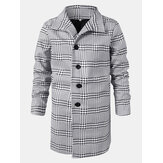Mens Houndstooth Lapel Single-Breasted Mid-Length Trench Coats