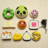 10 Adet Rastgele Squishy Yumuşak Suşi / Panda / Ekmek / Pasta / Buns Telefonu Bantları