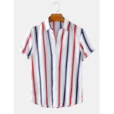 Listras verticais coloridas lapela colar mens camisas casuais de férias de manga curta