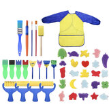 42 Pcs Sponge Painting Brushes Kit Sponge Drawing Shapes Paint Craft Brush for Toddlers Assorted Pattern with Waterproof Art Painting Smock Apron for Kids Early Learning