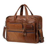 Men Genuine Leather Business Large Capacity Handbag