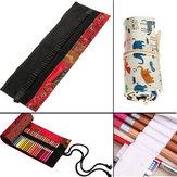 Furos 48pcs lápis lápis lona bolsa caneta rolo caso saco de armazenamento portátil titular