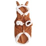 Pet Dog Puppy Natal Indah Rusa Sweater Hoodie Jumpsuit Coat Pakaian Tahan Dr Coats
