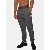 Mens Basic Solid Color Cotton Drawstring Sport Loose Fit Fitness Jogger Pants