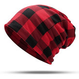 Männer Damen Cotton Plaid Slouchy Beanie Cap Schal Outdoor Print Double Layers Turban Hut