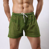 Hollow Out Fishnet Pants See Through Mesh Breathable Shorts