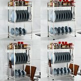 Three Layers Drying Dish Rack with Board Stainless Steel Drainer Shelf for Kitchen