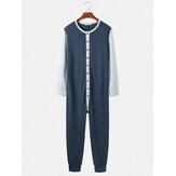 Mens Patchwork Colorblock Round Neck Button Up Long Sleeve Comfy Home Jumpsuit Pajamas