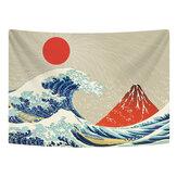 Tapeçaria de suspensão de parede de poliéster Great Wave Mount Fuji Mountain Padrão Tapeçaria para dormitório quarto decoração de sala de estar