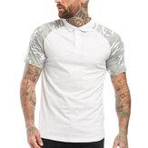 Summer Outdoor Classic Camisa Masculino Algodão Sólido Manga Curta Respirável Camiseta Lazer Camisa