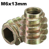 5Pcs M6x13mm Hex Drive Screw In Threaded Insert For Wood Type E